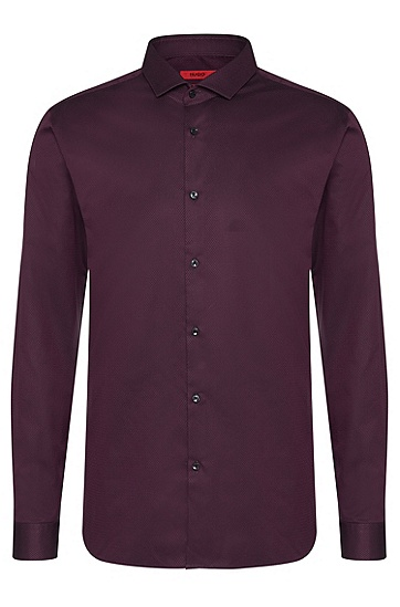 Slim-fit shirt in cotton with a fine textured pattern: 'Erondo', Dark Purple
