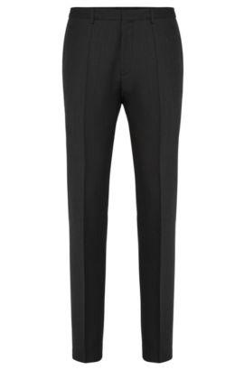 Pantalon Extra Slim Fit en laine vierge finement structurée: «HerioS», Noir