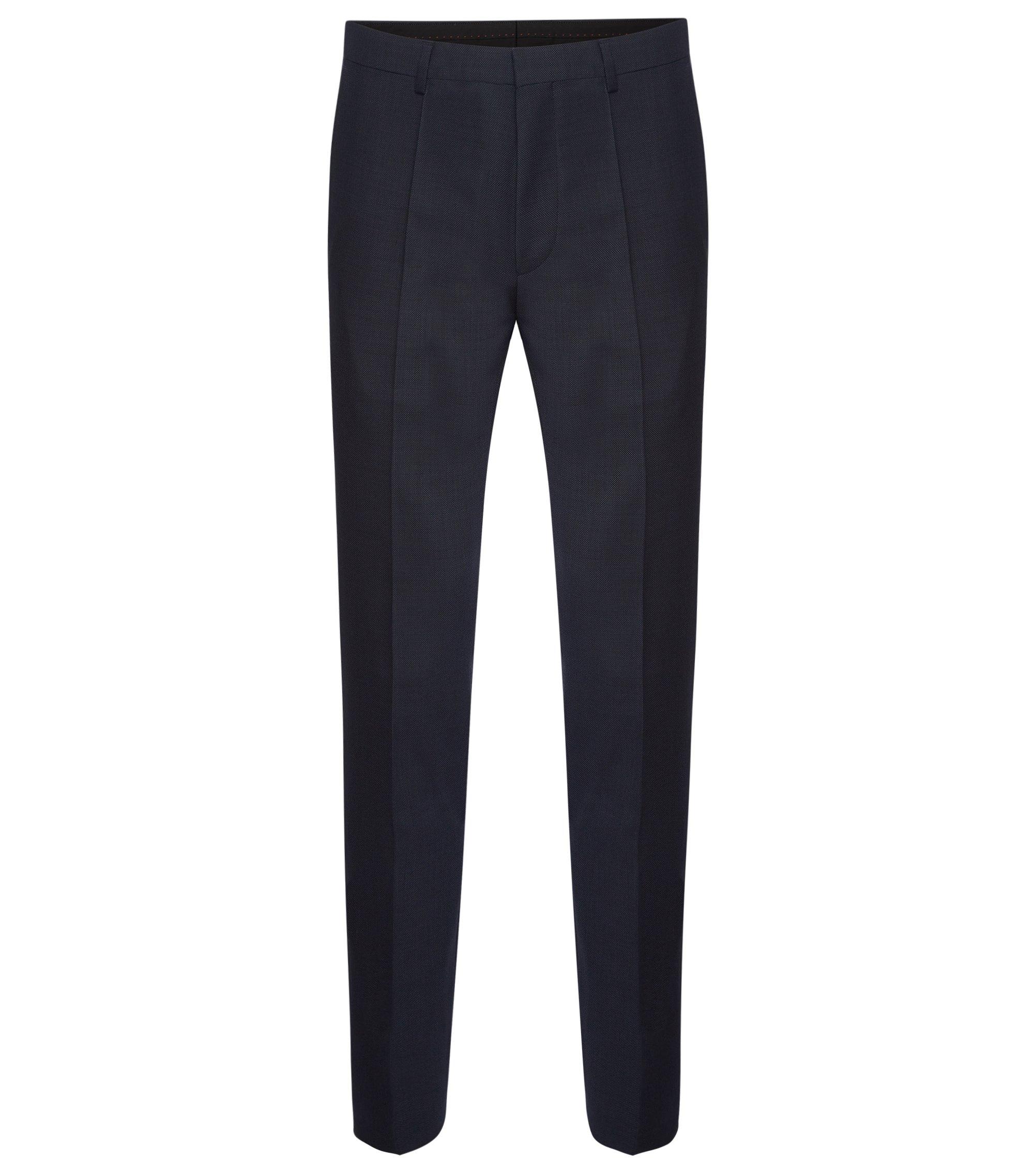 Pantaloni extra slim fit in lana vergine finemente lavorata: 'HerioS', Blu scuro