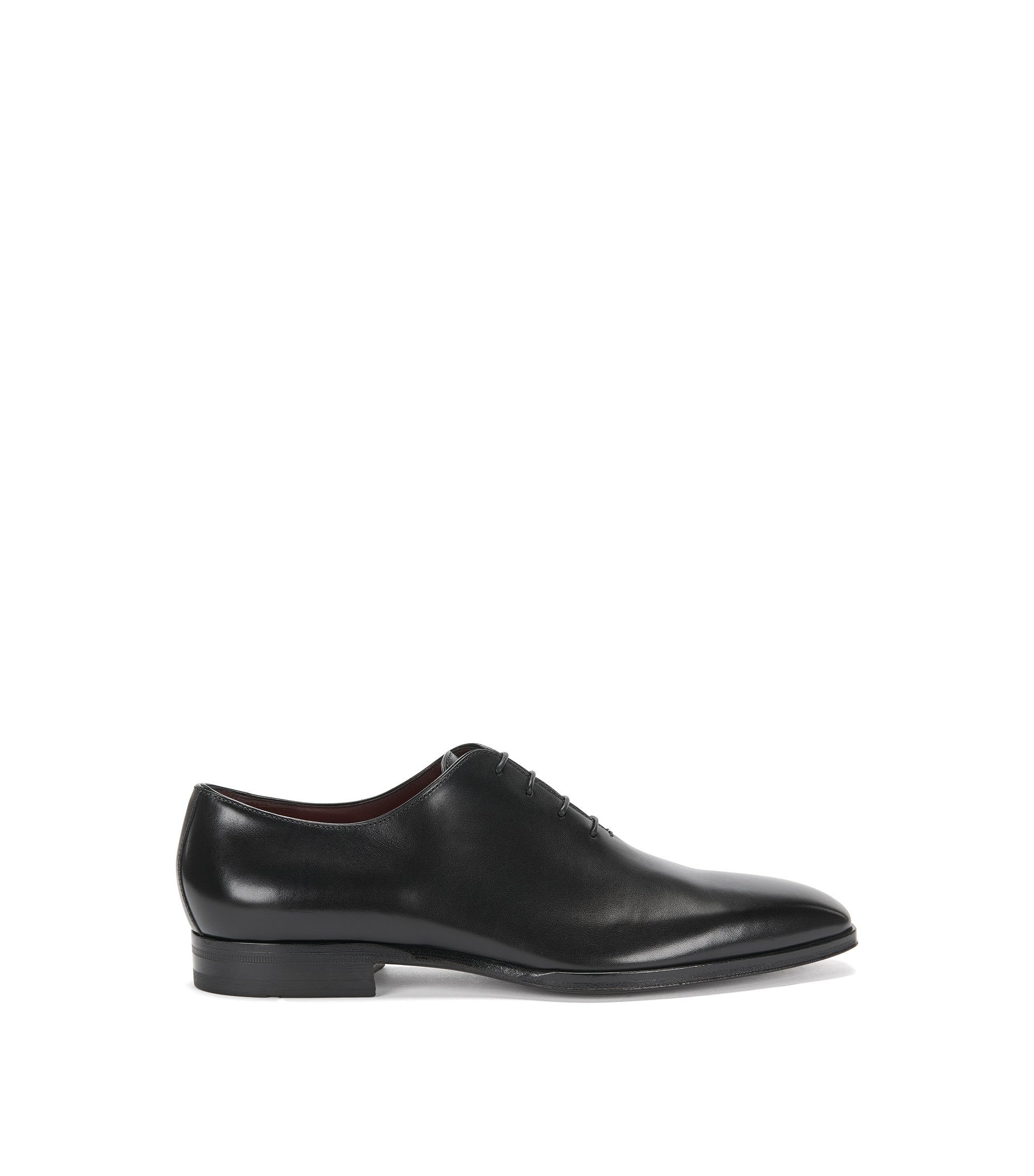 BOSS Tailored Oxford shoes in burnished leather, Black