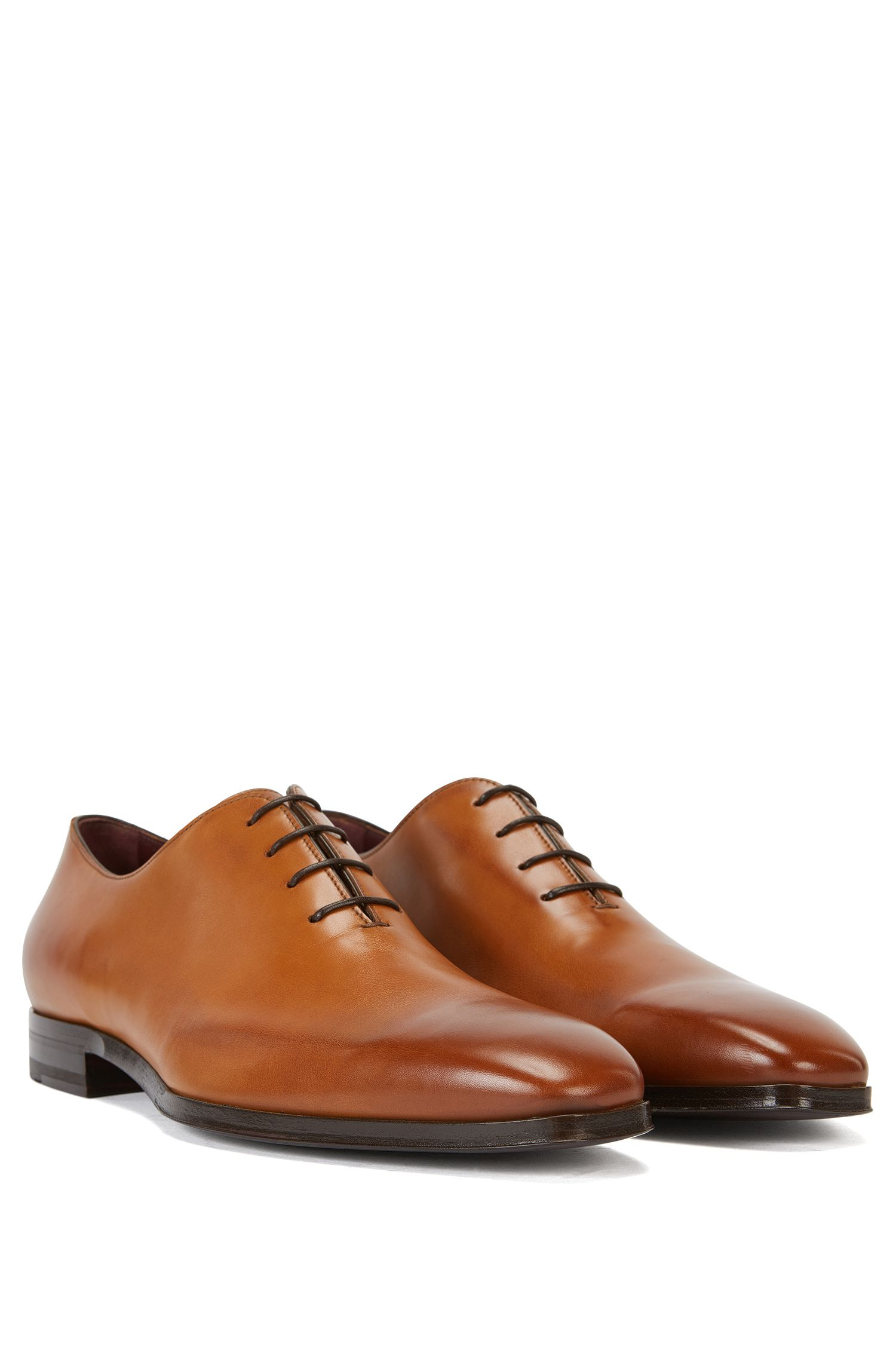 Chaussures Oxford BOSS Tailored en cuir poli, Marron