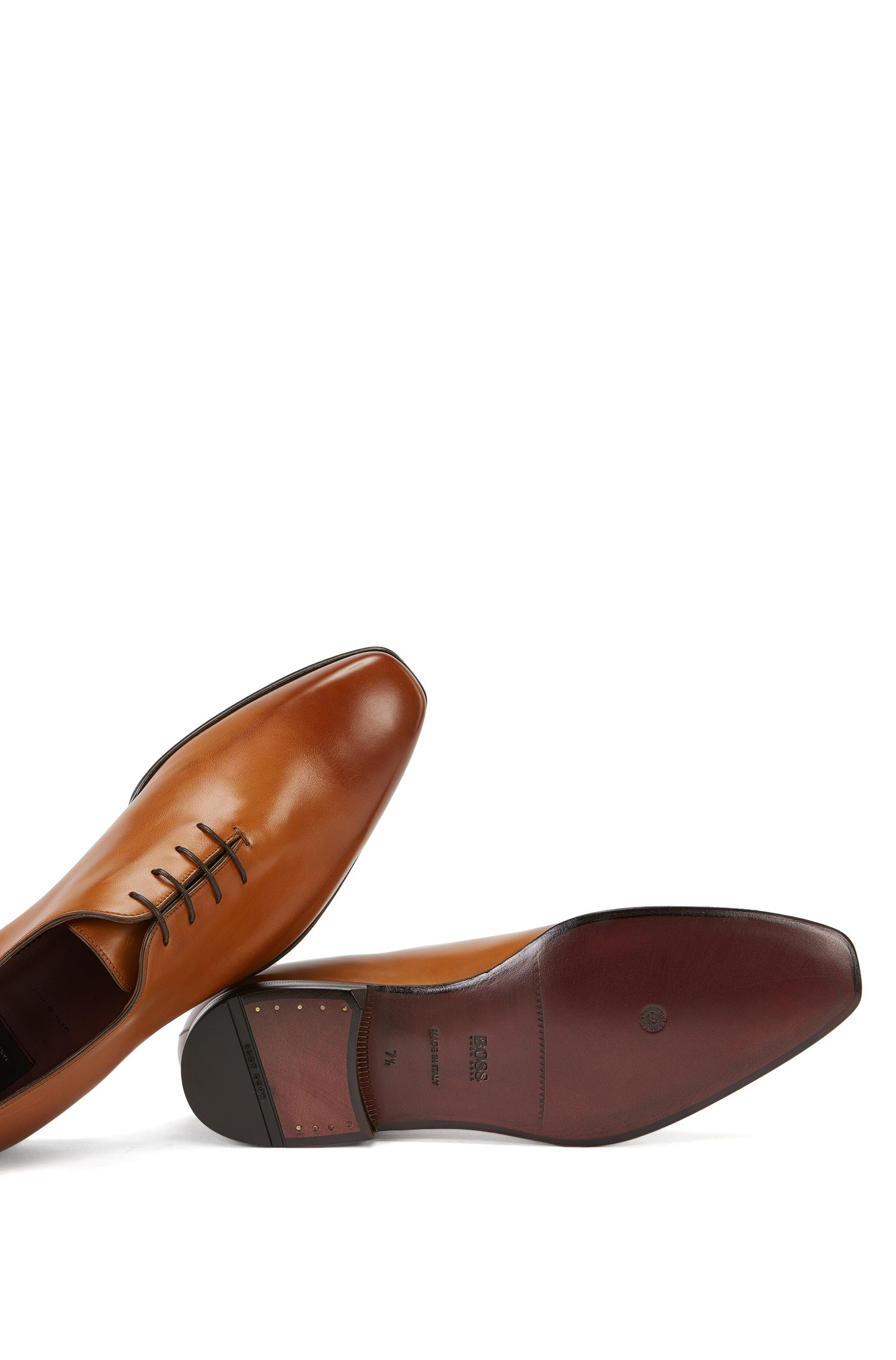 Scarpe Oxford BOSS Tailored in pelle brunita, Marrone