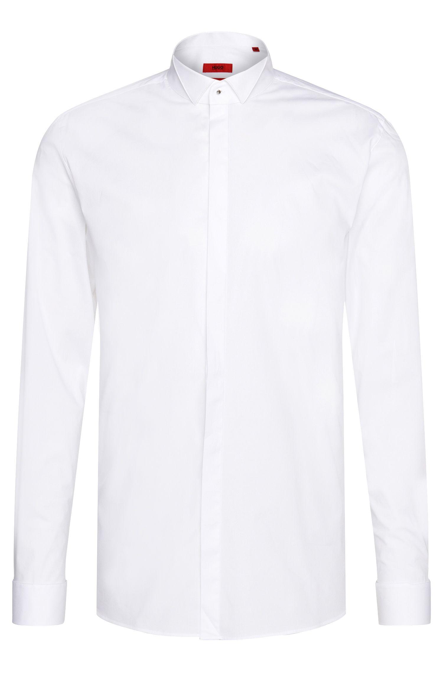 Camisa de esmoquin slim fit en algodón elástico: 'Escot'