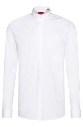 Chemise de smoking Slim Fit en coton extensible : « Escot », Blanc