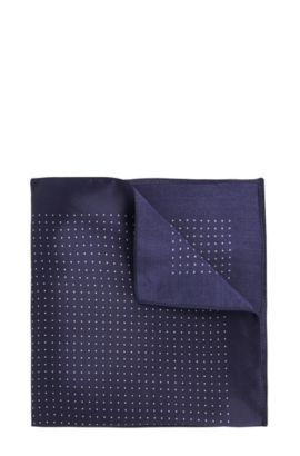 Pochette da taschino in seta con motivo a pois, Blu scuro