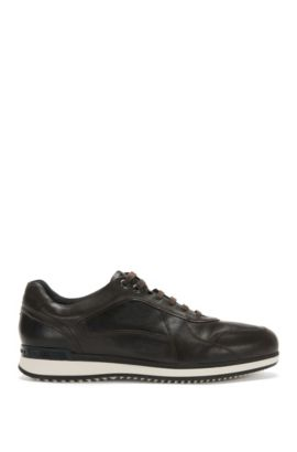 Leather trainers with layered sole: 'Heritage_Lowp_lt', Dark Brown