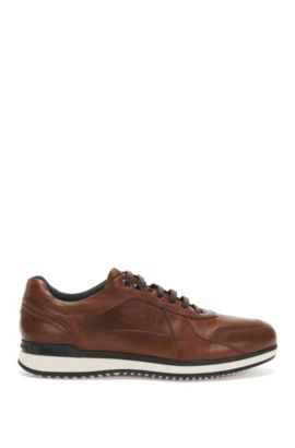 Leather trainers with layered sole: 'Heritage_Lowp_lt', Brown