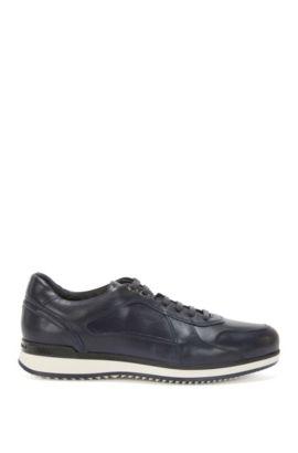 Sneakers van leer met gelaagde zool: 'Heritage_Lowp_lt', Donkerblauw