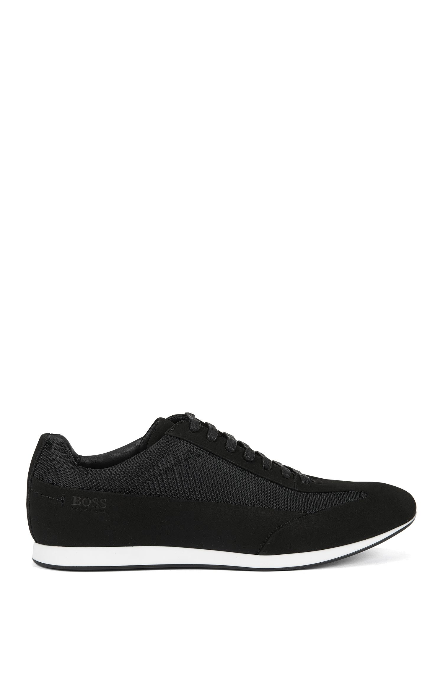 Lace-up leather trainers with textured panels by BOSS Menswear, Black