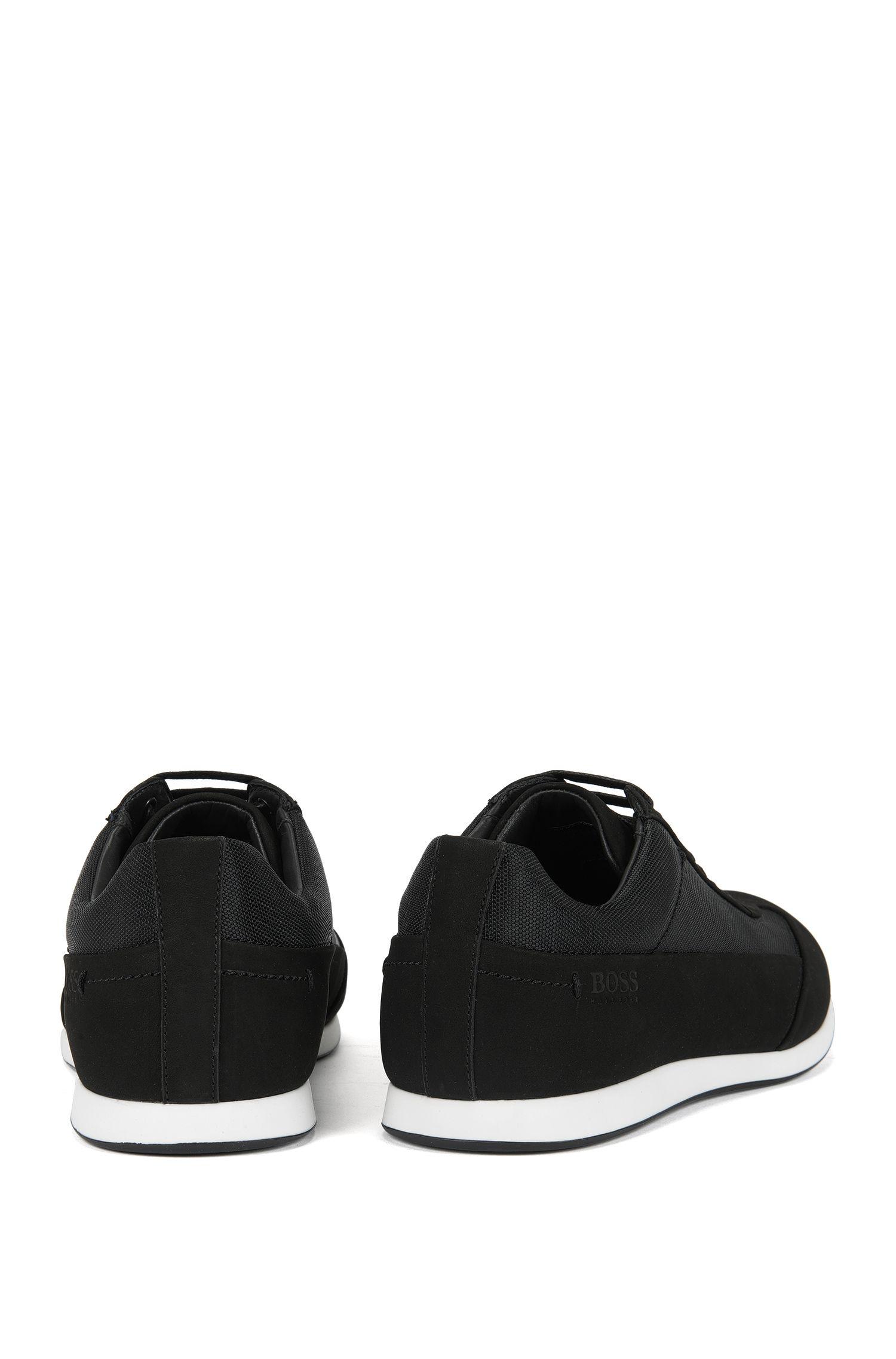 Leren vetersneakers met gestructureerde vlakken van BOSS Menswear, Zwart