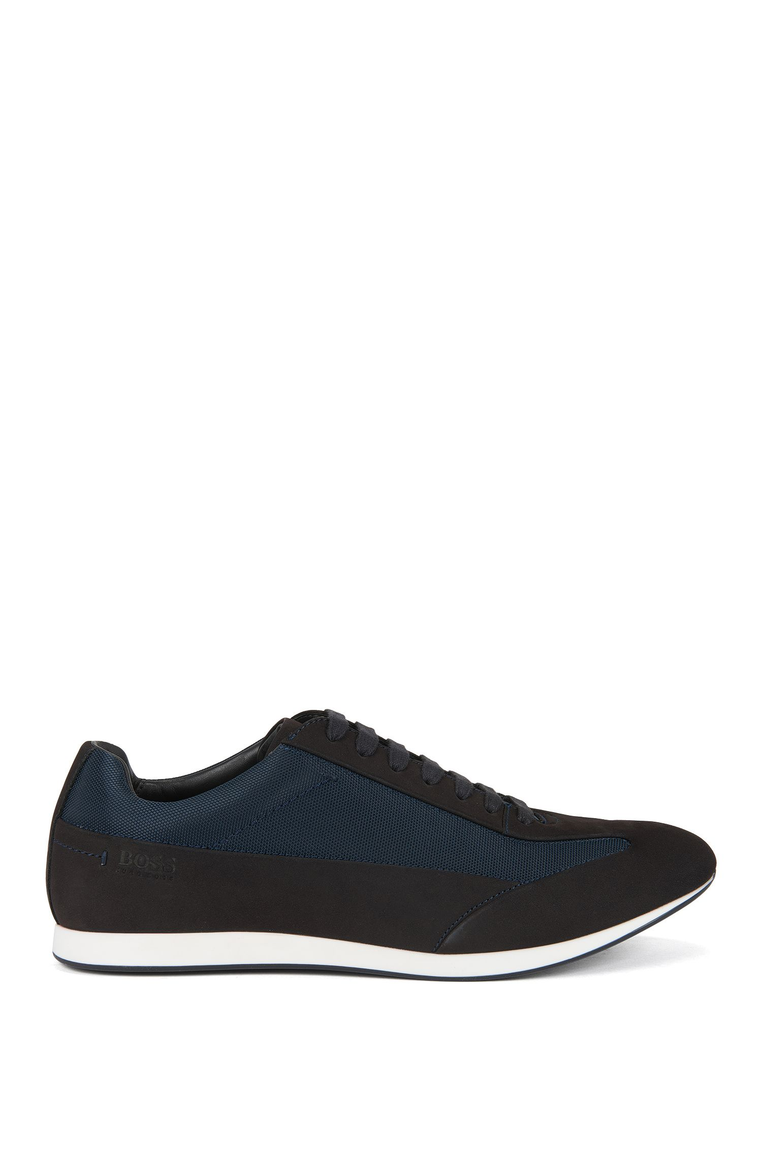 Lace-up leather trainers with textured panels by BOSS Menswear, Dark Blue