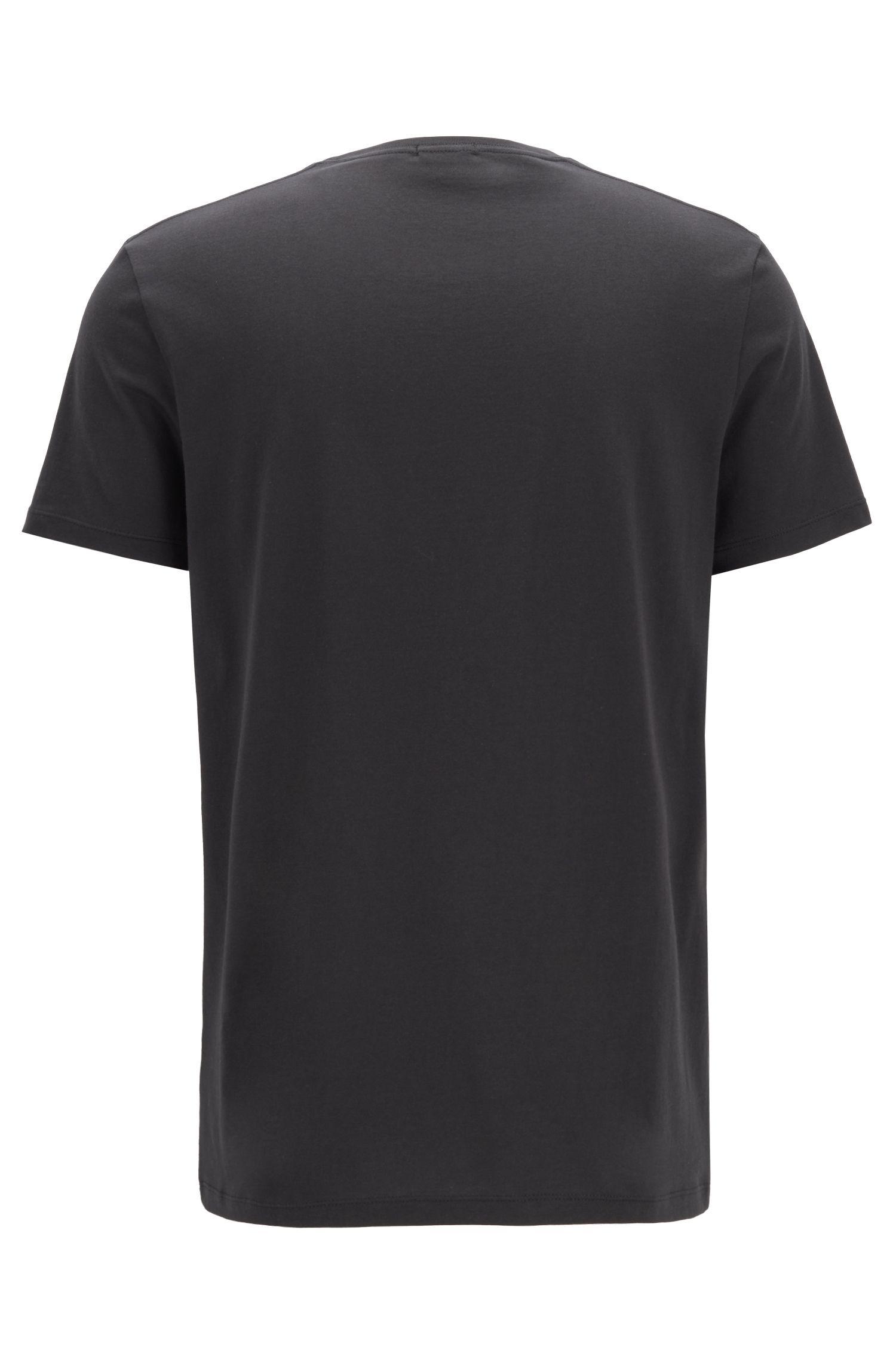 Slim-fit T-shirt van superzachte katoenjersey, Zwart