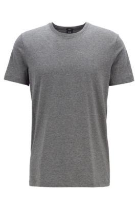 T-shirt slim fit in cotone: 'Tessler 33', Grigio