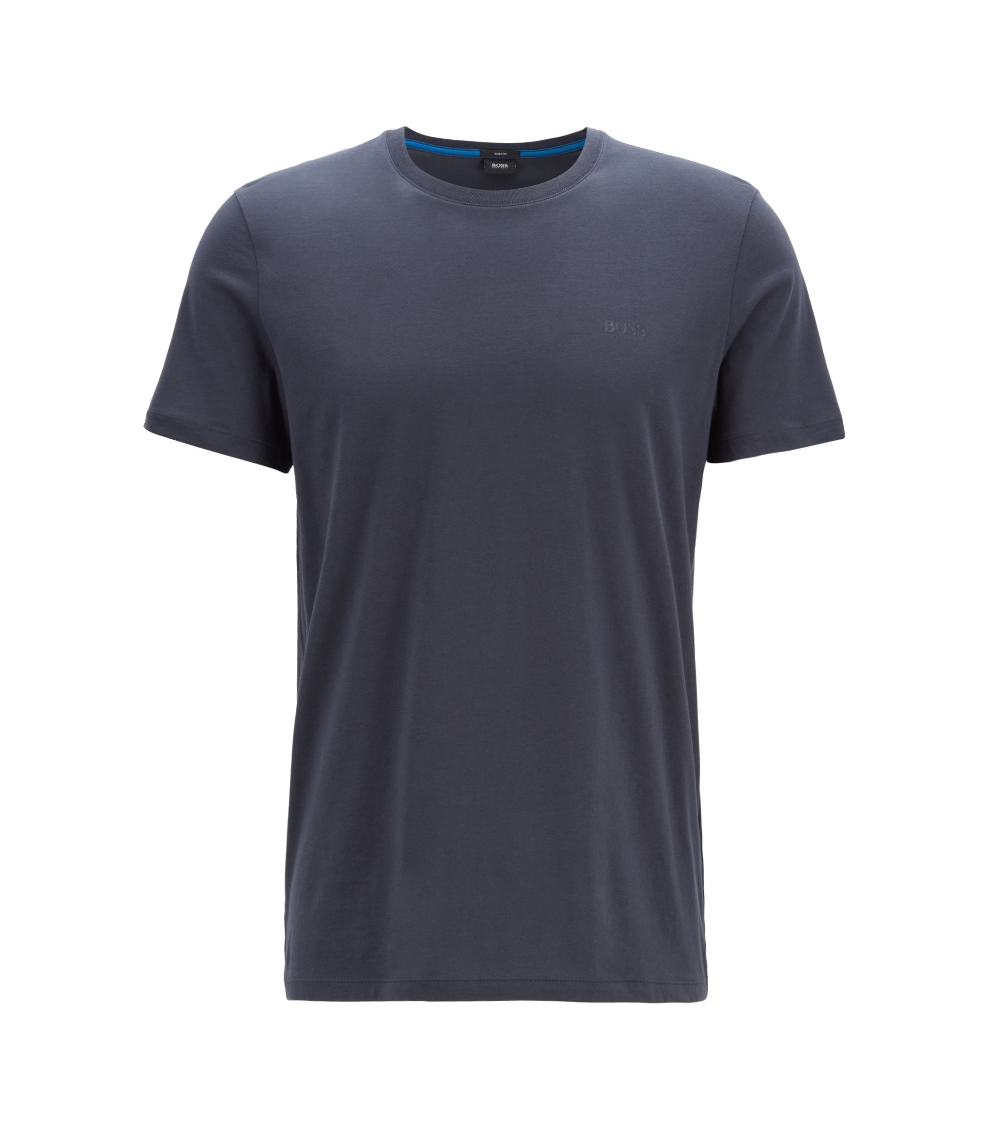 Slim-fit t-shirt in cotton: 'Tessler 33', Dark Blue