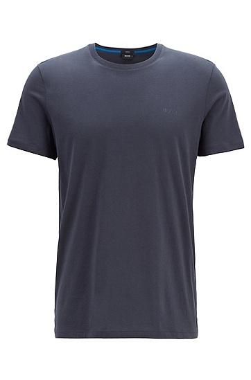 男士休闲商务纯色短袖T恤,  402_暗蓝色
