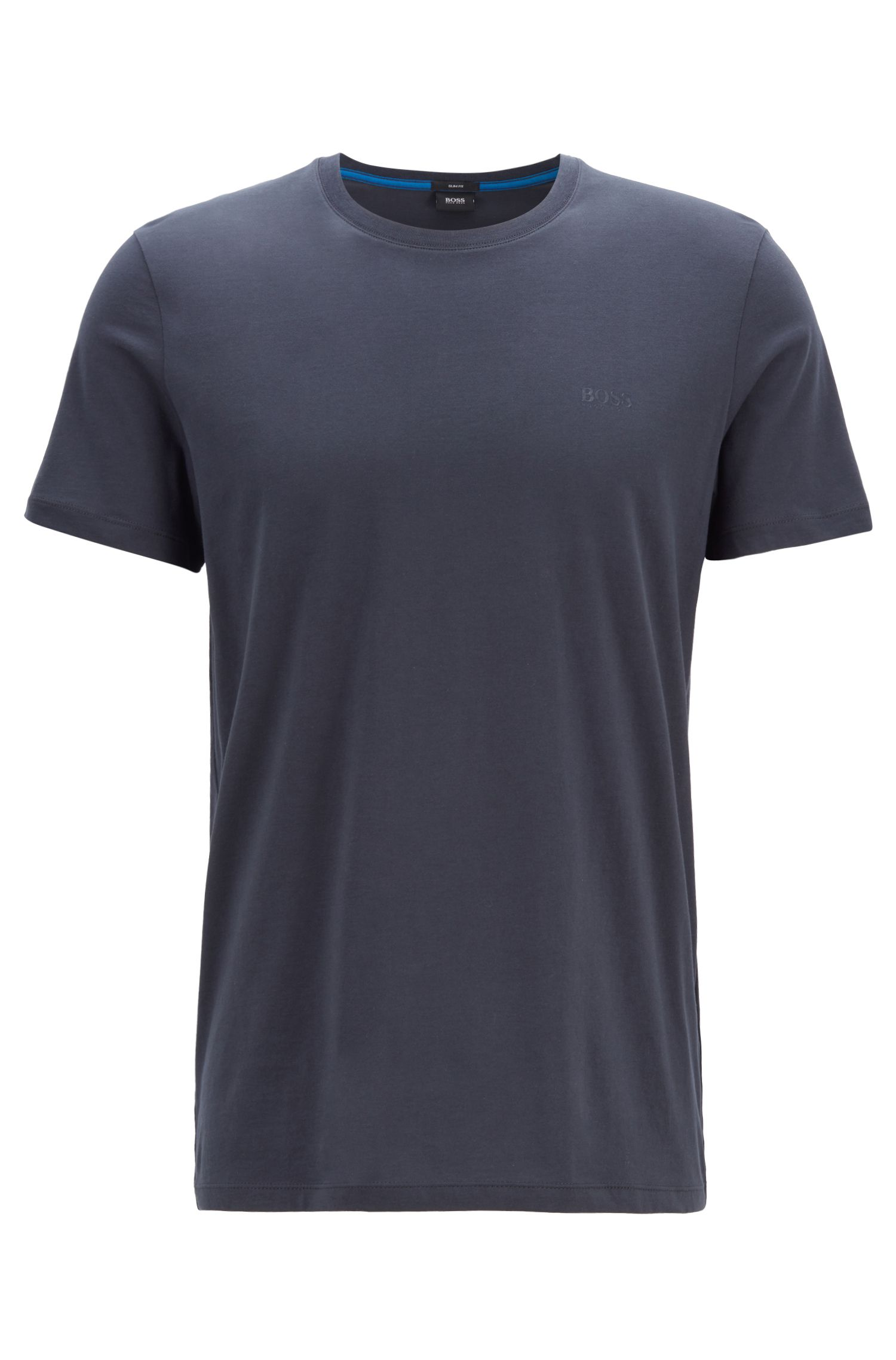 T-shirt slim fit in morbidissimo jersey di cotone, Blu scuro