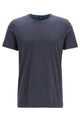 Slim-fit T-shirt van katoen: 'Tessler 33', Donkerblauw