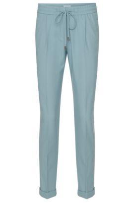 Relaxed-fit broek in cropped-lengte met elastische band: 'Ariyana8', Turkoois