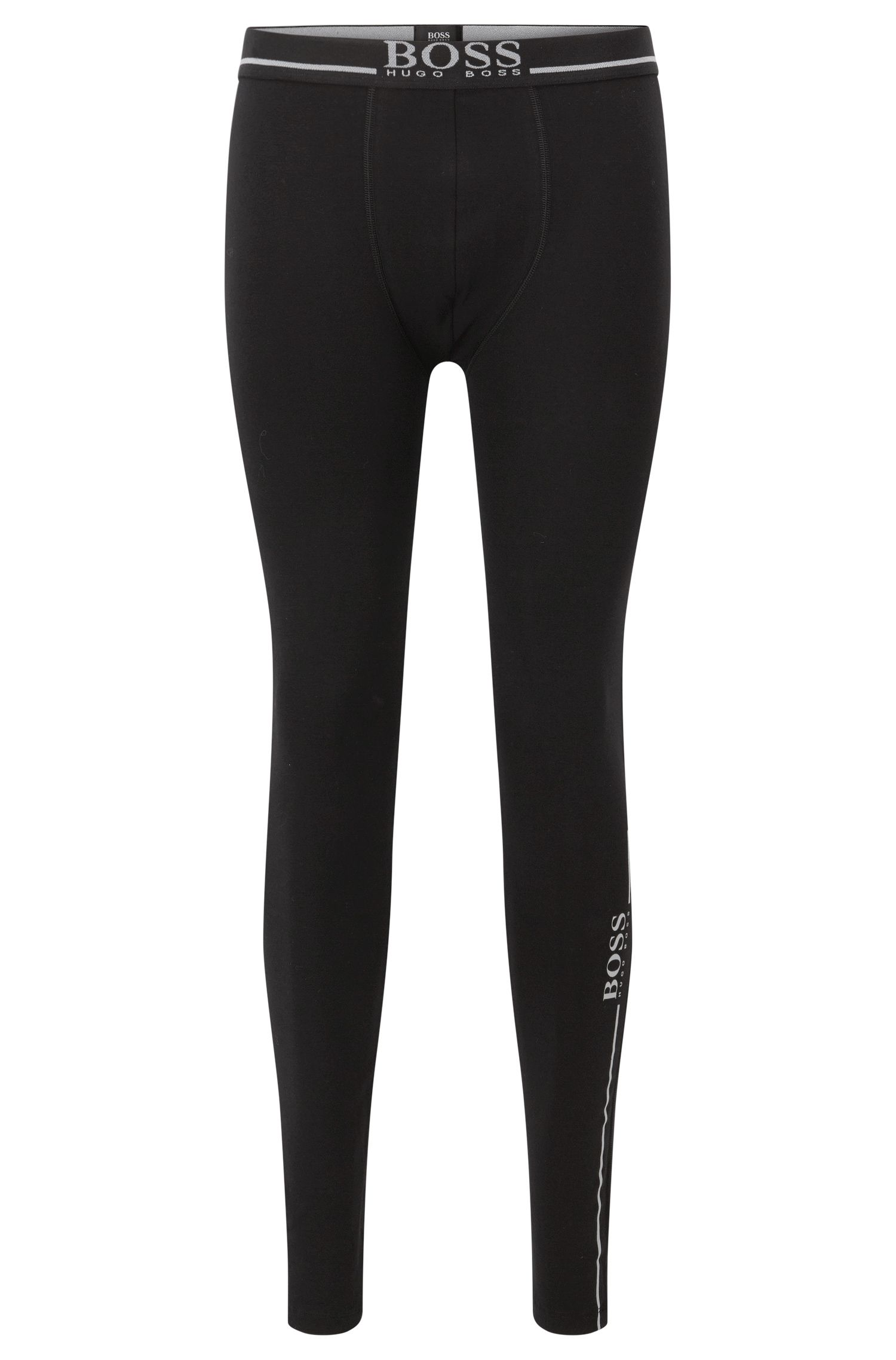 Stretch cotton jersey long johns with logo details