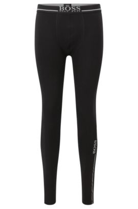 Stretch cotton jersey long johns with logo details, Black