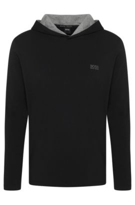Hooded loungewear top in stretch cotton jersey, Black