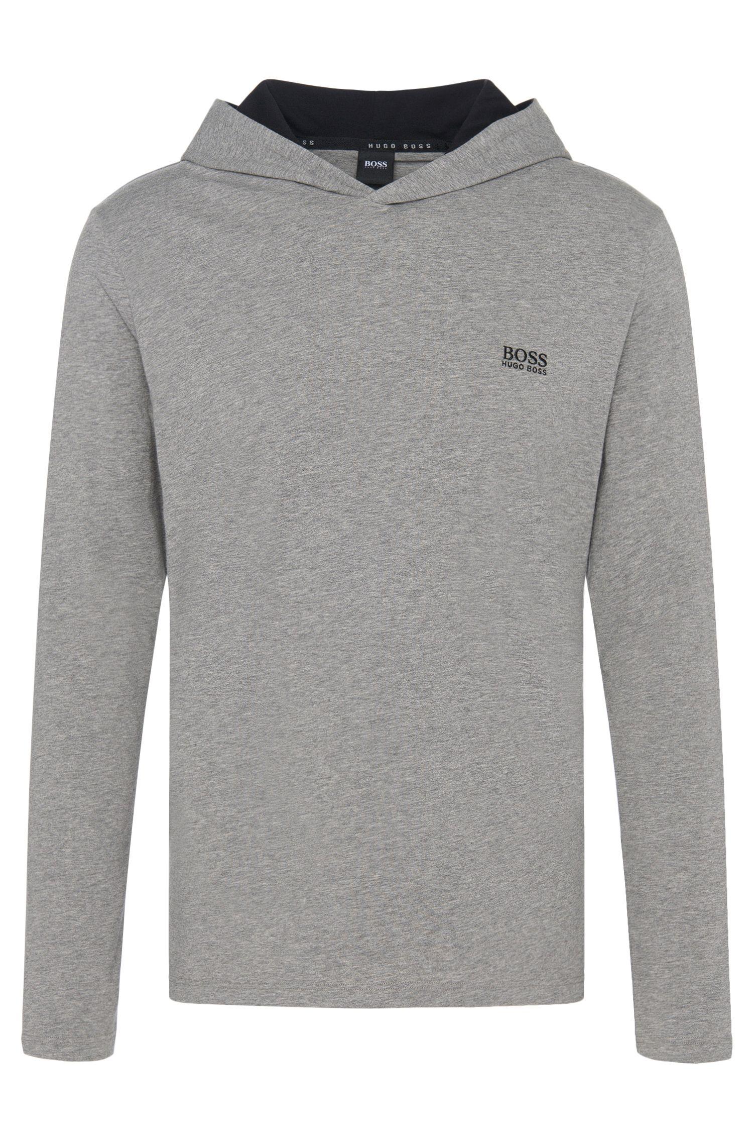 Maglia con cappuccio per il tempo libero in jersey di cotone elasticizzato