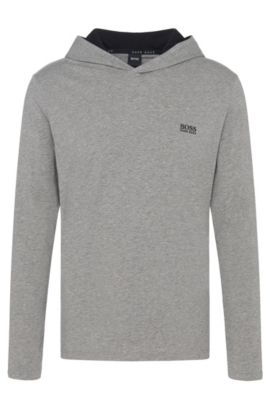 Hooded loungewear top in stretch cotton jersey, Grey