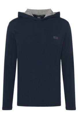 Hooded long-sleeved shirt in stretch cotton: 'LS-Shirt Hooded', Dark Blue