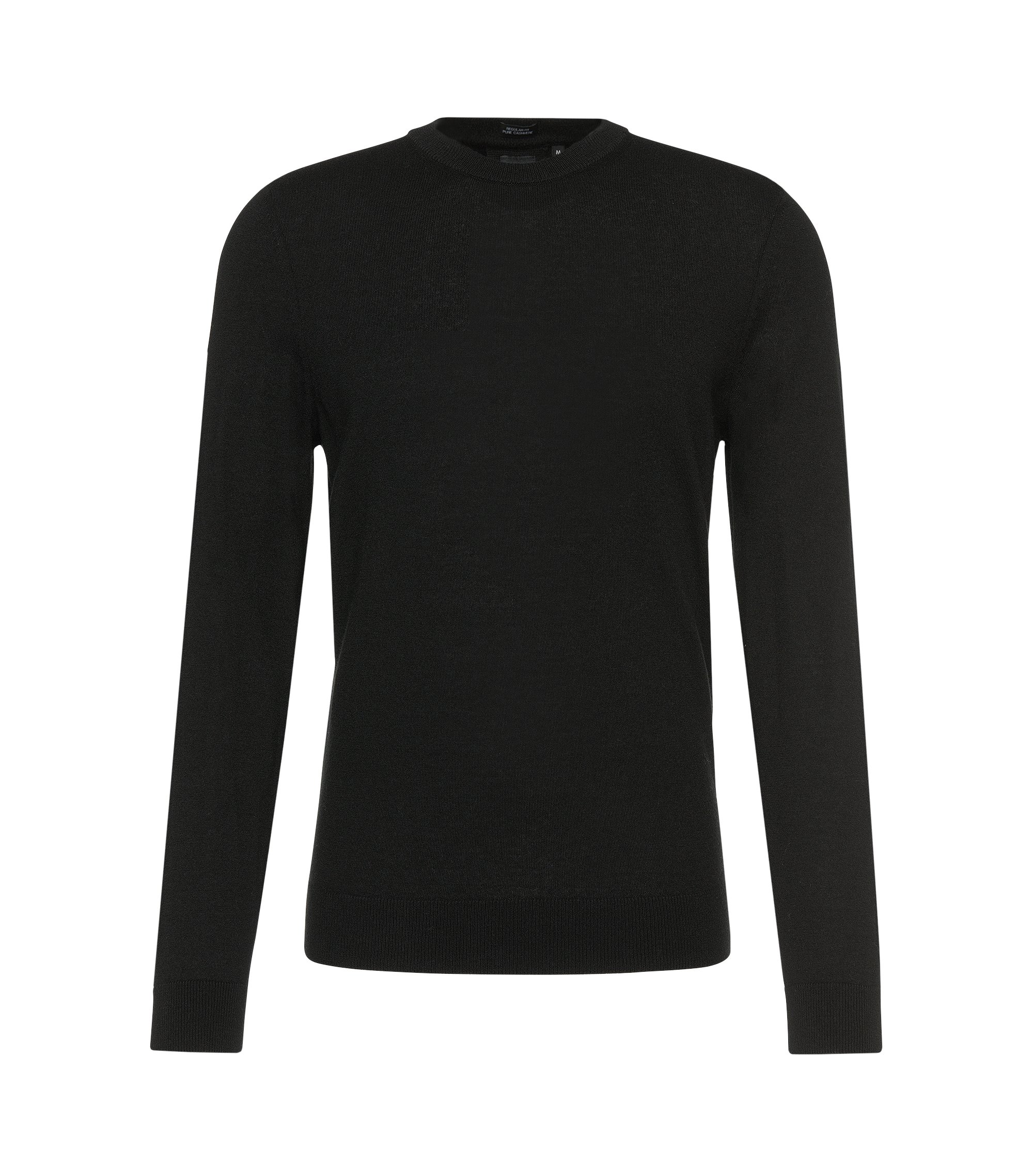 Maglione sartoriale regular fit in cashmere: 'T-Borello', Nero