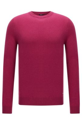 Maglione sartoriale regular fit in cashmere: 'T-Borello', Viola scuro