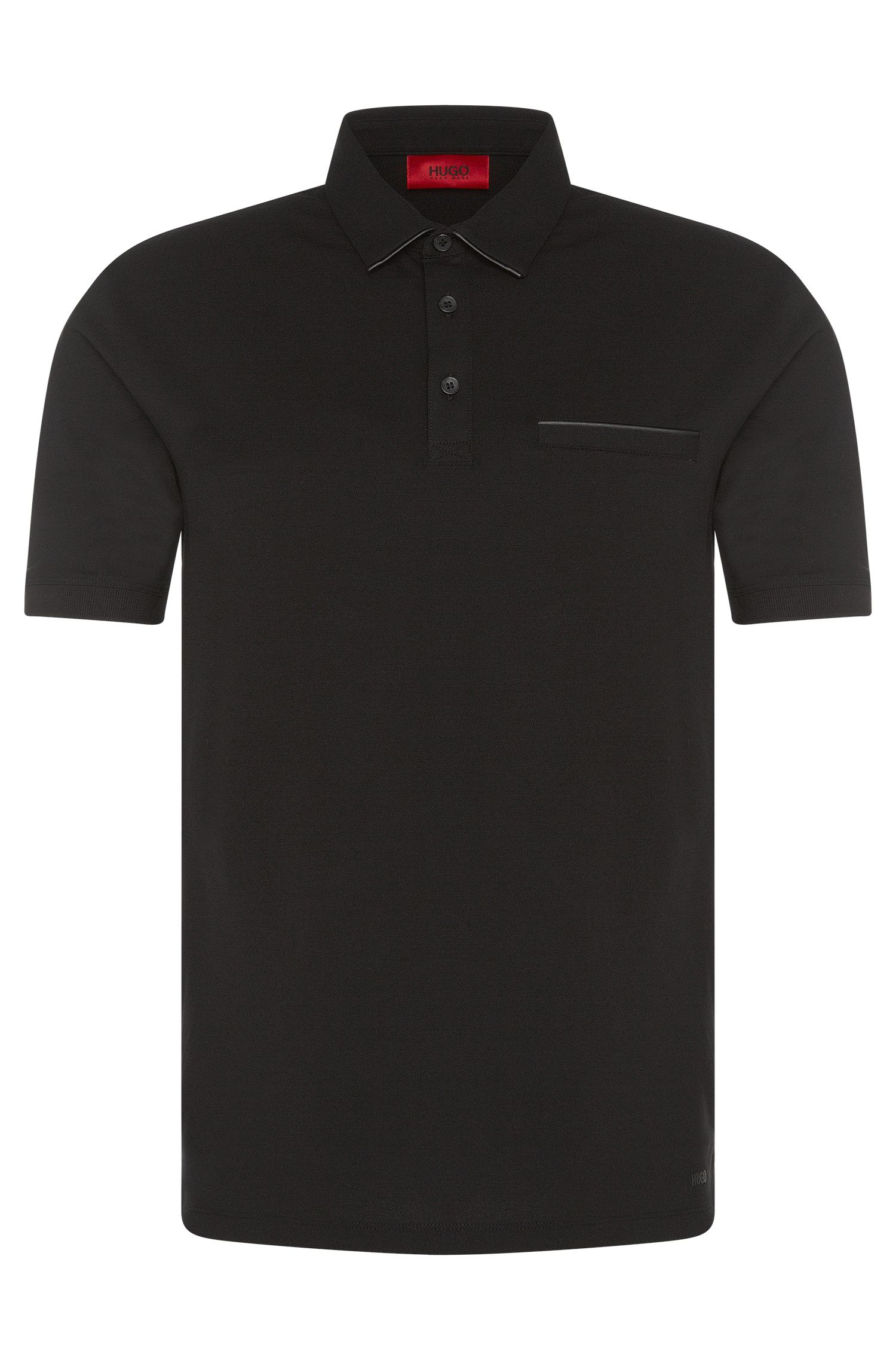 Regular-Fit Polo aus Stretch-Baumwolle mit Details in Leder-Optik: 'Dolorino'
