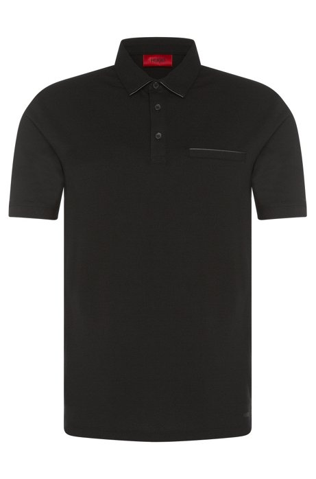 Regular-fit polo shirt in stretch cotton with leather-effect details: 'Dolorino', Black