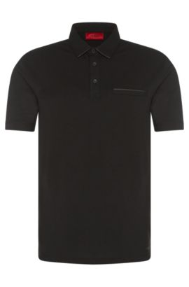 Regular-Fit Polo aus Stretch-Baumwolle mit Details in Leder-Optik: 'Dolorino', Schwarz