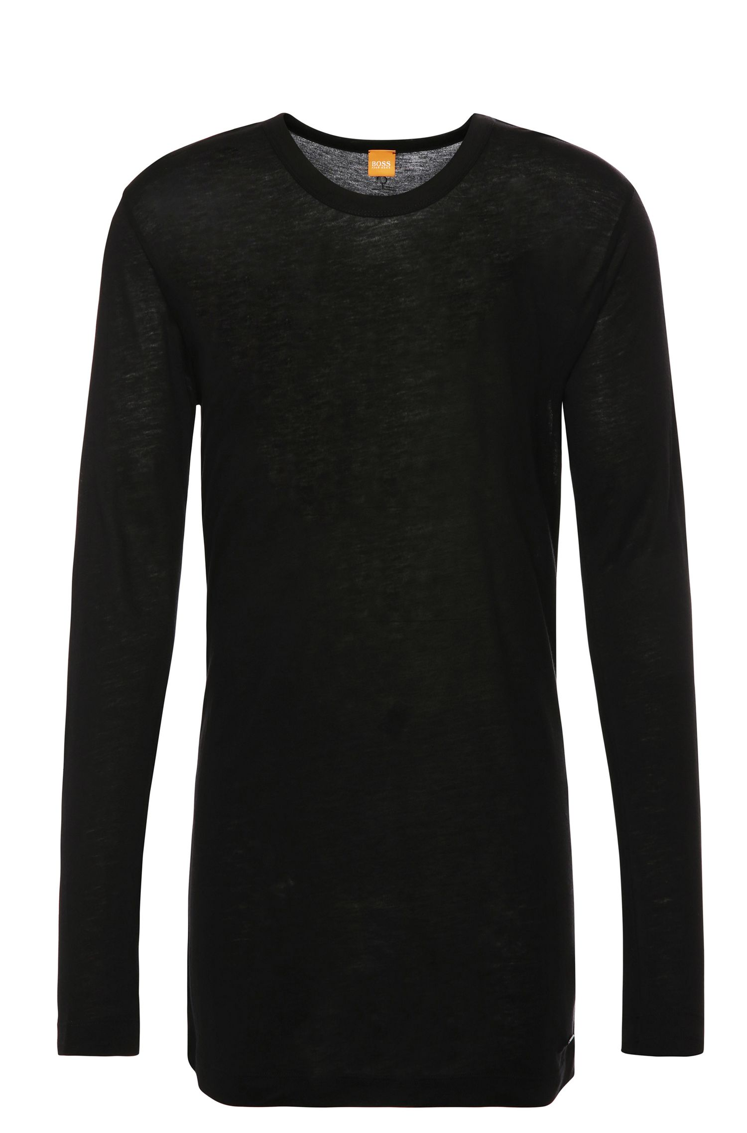 Regular-Fit Longsleeve aus Material-Mix mit Wolle: ´Tijuan`