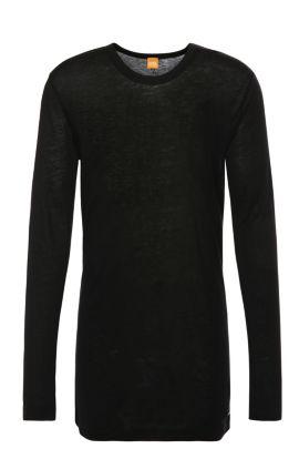 T-shirt à manches longues Regular Fit en mélange de matières à teneur en laine: «Tijuan», Noir
