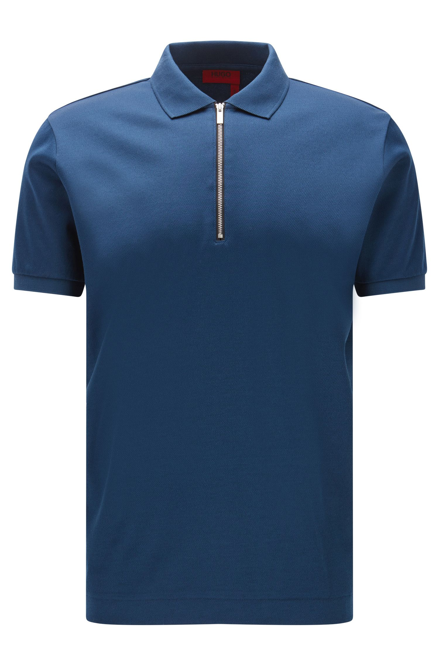 Regular-fit zip-neck polo shirt in mercerised cotton