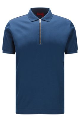 Regular-fit zip-neck polo shirt in mercerised cotton, Dark Blue