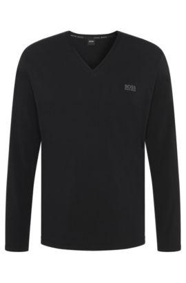 T-shirt à manches longues en coton stretch, à col V: «LS-Shirt VN», Noir