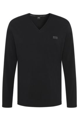 Long-sleeved shirt in stretch cotton with V-neck: 'LS-Shirt VN', Black