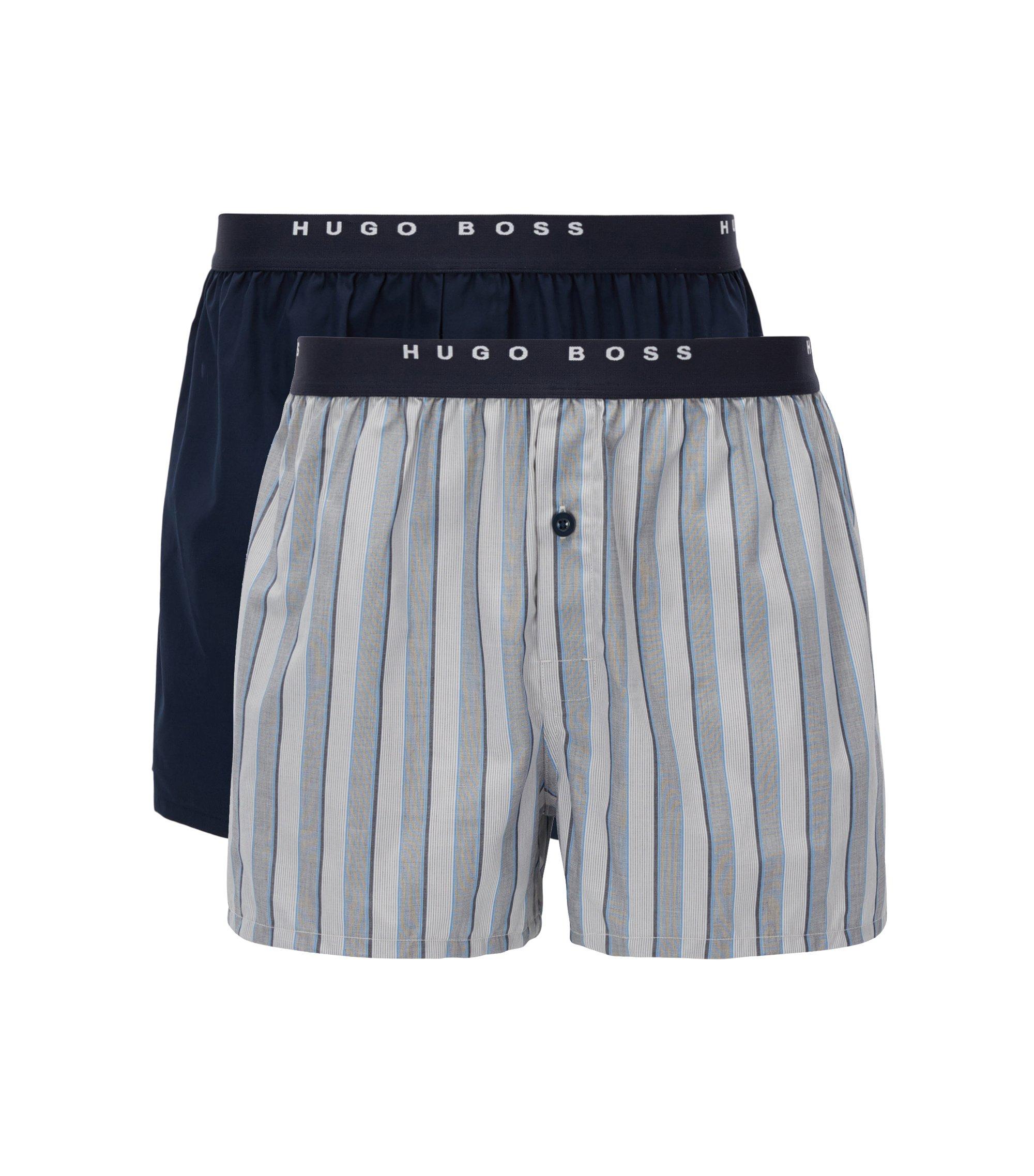 Lot de deux boxers en coton à carreaux, Fantaisie