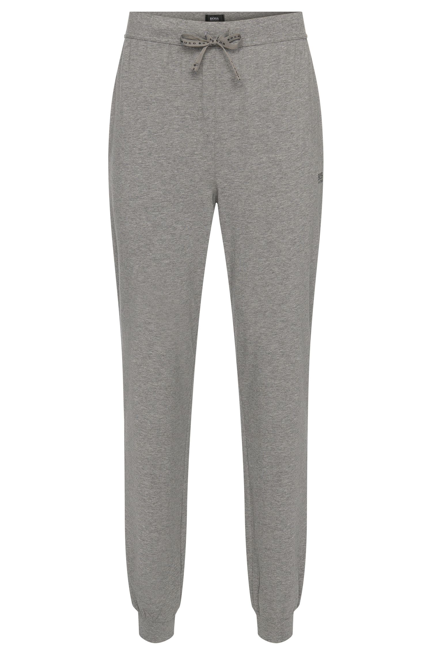 Tracksuit bottoms in stretch cotton with drawstring waistband: 'Long Pant CW Cuffs', Grey