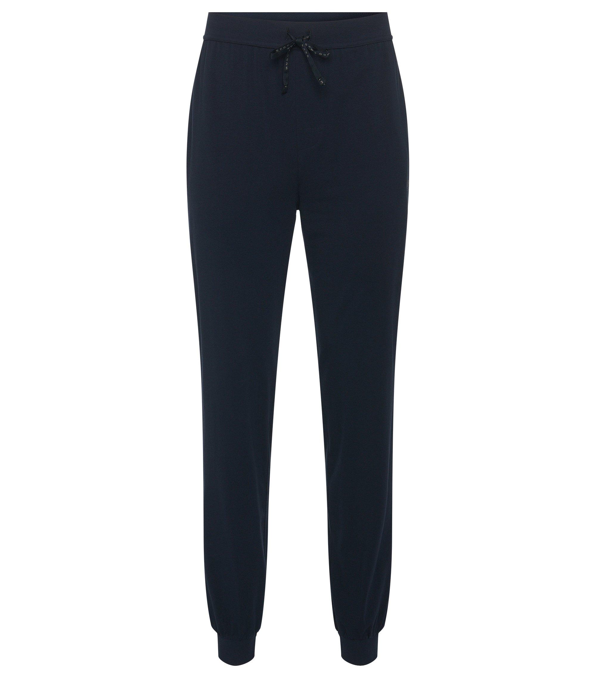 Sweatbroek van stretchkatoen met tunnelkoord: 'Long Pant CW Cuffs', Donkerblauw