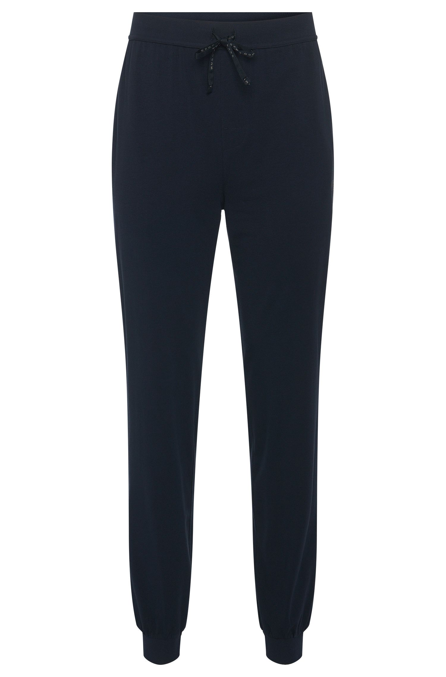 Tracksuit bottoms in stretch cotton with drawstring waistband: 'Long Pant CW Cuffs', Dark Blue