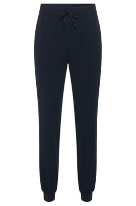 Pantaloni in felpa in cotone elasticizzato con coulisse: 'Long Pant CW Cuffs', Blu scuro