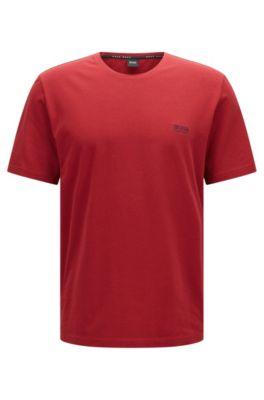 Lounge-T-shirt van single jersey katoen, Donkerrood