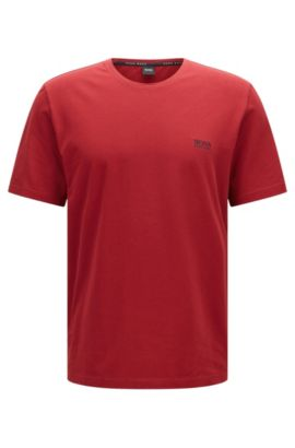 Loungewear T-shirt in single jersey cotton, Dark Red