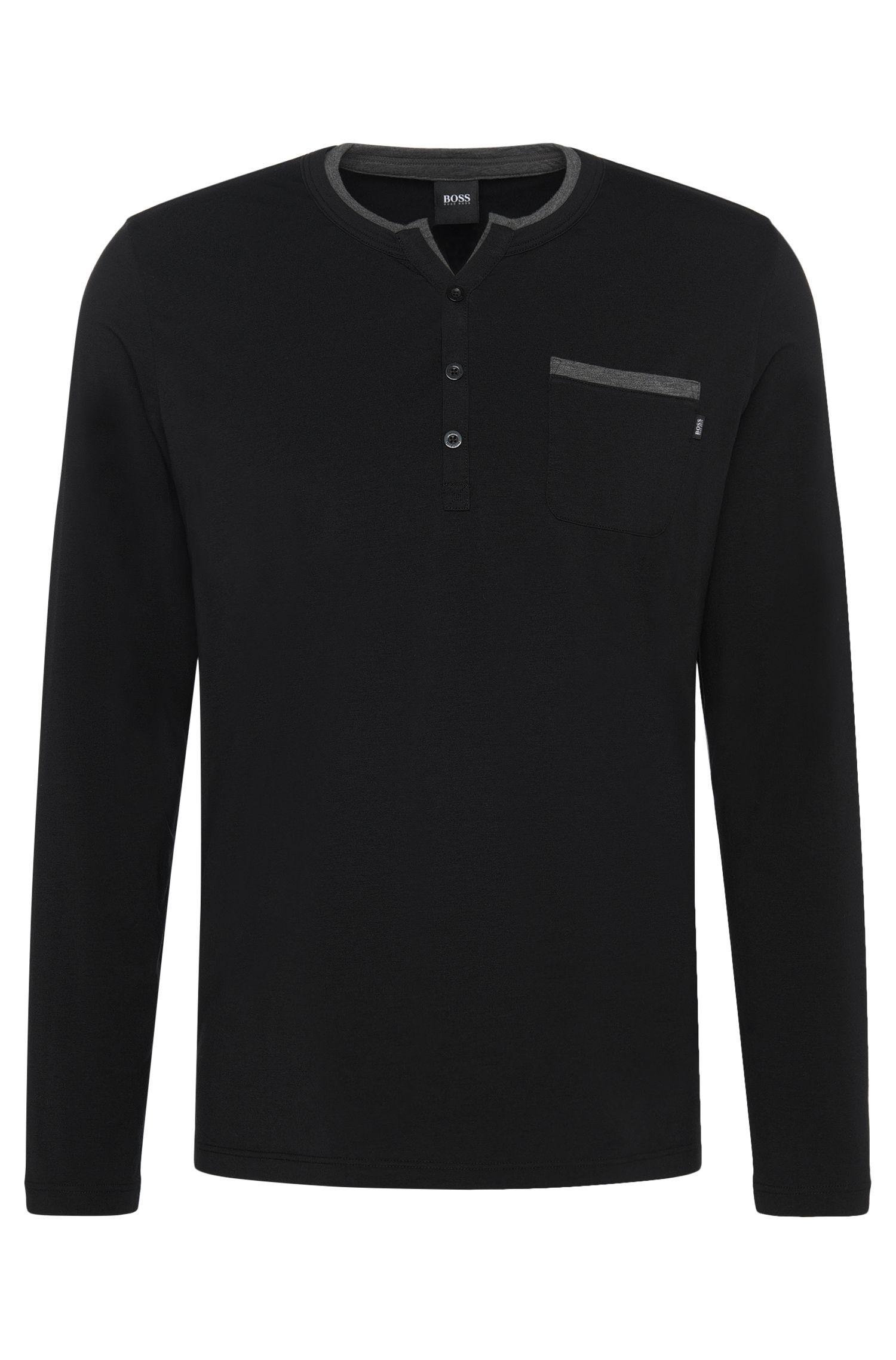 Pyjamashirt van een katoenmix met contrastkleurige paspels: 'LS-Shirt BP'
