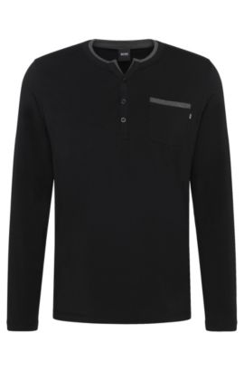Pyjama shirt in cotton blend with colour-contrasting piping: 'LS-Shirt BP', Black