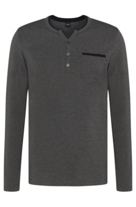 Pyjama shirt in cotton blend with colour-contrasting piping: 'LS-Shirt BP', Grey