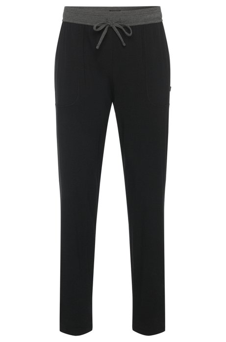 Pyjama bottoms in cotton blend with contrasting colour waistband: 'Long Pant CW', Black